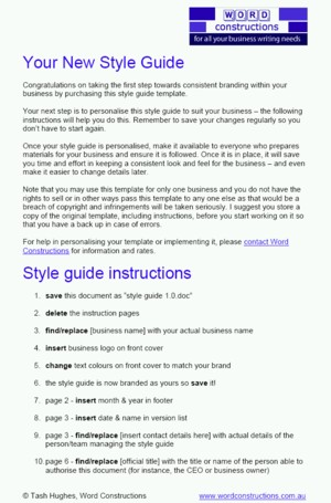 Corporate Style Guide instructions sheet